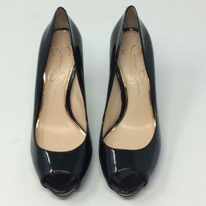 Black Jessica Simpson Patent Leather Open Toe Heel